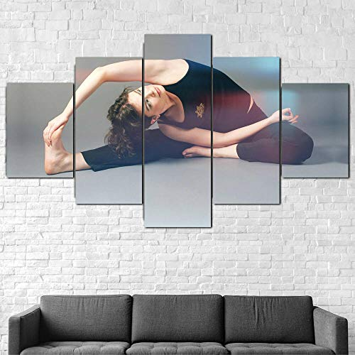 GONGXIANG Lienzo Art Deco De Pintura Moderna para Sala De Estar O Dormitorio Yoga Chica Estiramiento Gimnasio 5 Piezas De 80X150Cm XXL