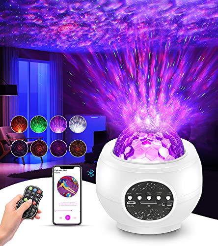 Sternenhimmel Projektor, Tesoky Nachtlicht Sternenhimmel Projektor Baby Kinder Erwachsense LED Einschlafhilfe Lampe mit Musik/Starry/Dynamisch Wellen/Klang-kontrolliert/Bluetooth Lautsprecher