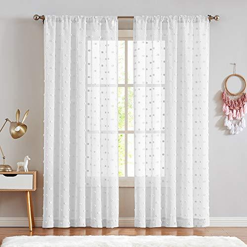 Sheer Curtains Pompom White Voile Pom pom Window Curtains for Bedroom Girls Room Nursery Kids Teenage Room Rod Pocket 2 Panels 84 inch Long Curtain Set