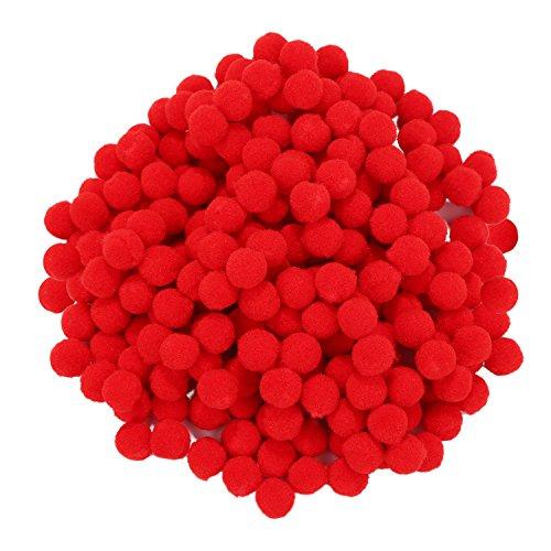 250 Stück Mini Pompoms Kleine Flauschige Pom Poms für Deko Kunsthandwerk DIY, Rot (10 mm)