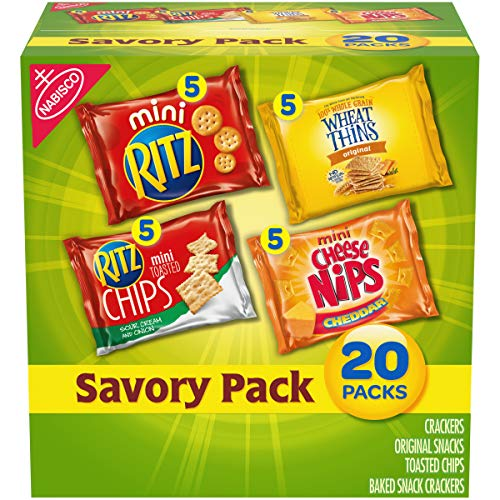 Nabisco Savory Cracker Variety Pack, RITZ, Cheese Nips, Wheat Thins & RITZ Toasted Chips Sour Cream and Onion, 20 Snack Packs