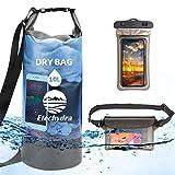 Etechydra Bolsa seca impermeable de 10 l, ligera y plegable flotante, con correa ajustable, bolsa seca para teléfono y riñonera para playa, natación, kayak, senderismo, camping y pesca, color azul