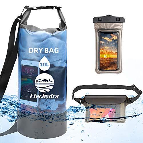Etechydra Bolsa seca impermeable, flotante, mochila seca, ligera, con bolsa seca para el teléfono y bolsa para navegar, pesca, natación, bolsa de playa, kayak, bolsa impermeable de 10 l, color azul