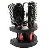 Juego de 5 cepillos para el pelo, para mujeres, para el cuidado del cabello, para masajes, con espejo y soporte, para adultos y niños