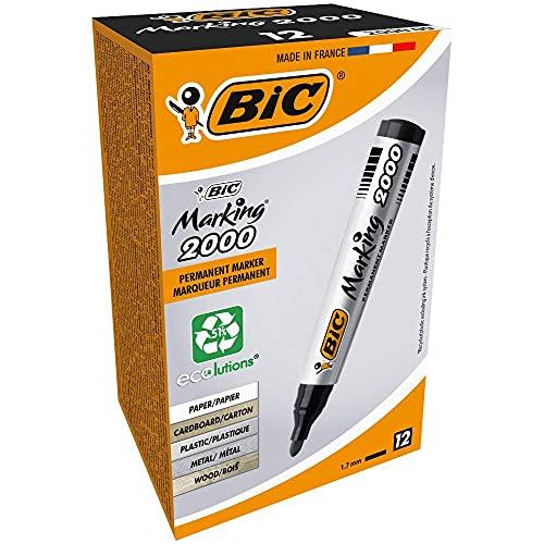 BIC Marking 2000 Permanent Marker, in Schwarz, Wasserfester Stift für Glas, Metall, Holz und Co, Strichstärke 1,7 mm, 12er Pack