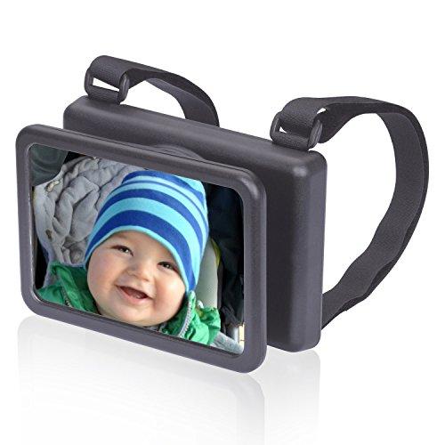 Wicked Chili Baby Spiegel Easy View - Rückspiegel für Babyschalen Zusatzspiegel (Made in Germany, drehbar/schwenkbar/neigbar 140 x 88 mm), schwarz