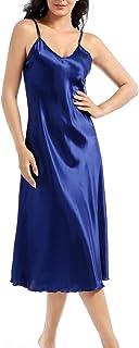 Lovacely Women's Satin Nightgown Deep V Neck Sleepshirt Spaghetti Strap Full Slip Nightdress Long Chemise Lingerie Sleepwear