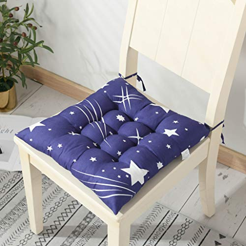 ENERGMiX Thickened Printed Cushion Chair Cushion Office Four Seasons Classroom Student Stool Fart Cushion Dining Chair Cushion Tatami Protection Cushion 45 * 45cm Brushed-Blue Star