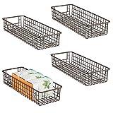mDesign Household Wire Drawer Organizer Tray, Storage Organizer Bin Basket, Built-In Handles - for Kitchen Cabinets, Drawers, Pantry, Closet, Bedroom, Bathroom - 16' x 6' x 3' - 4 Pack - Bronze