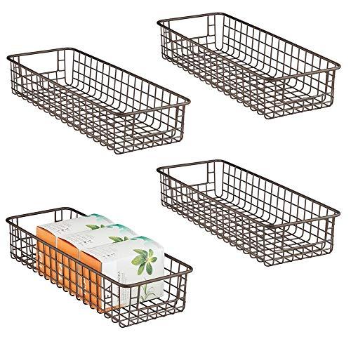 mDesign Household Wire Drawer Organizer Tray, Storage Organizer Bin Basket, Built-In Handles - for Kitchen Cabinets, Drawers, Pantry, Closet, Bedroom, Bathroom - 16