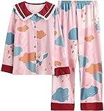 FTYUNWE Pijama cómodo, regalo de cumpleaños para esposa y madre, pijama para mujer, diseño de flores de lirio, traje de dormir de manga larga, conjunto de pantalones de color rosa, talla 3XL