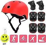 LKCELL Kit de protection pour casque et patins de vélo avec chaîne en PVC réfléchissante pour vélo 3-8 ans - Lot de 8 pièces (rouge)