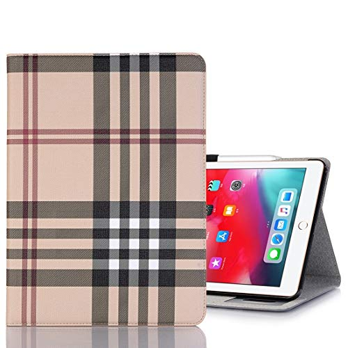 Ipad case Plaid Texture Horizontal Flip PU Leather Case for iPad Pro 11 inch (2018), with Holder & Card Slots & Wallet(Grey) Asun (Color : White)