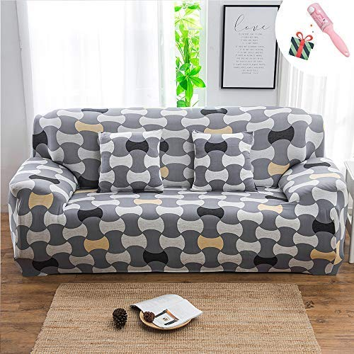 Elegante funda elástica para sofá de 1/2/3/4 plazas, poliéster elástico impreso, protección contra los reposabrazos del sofá, fundas de sofá para perros y mascotas, fácil ajuste geométrico