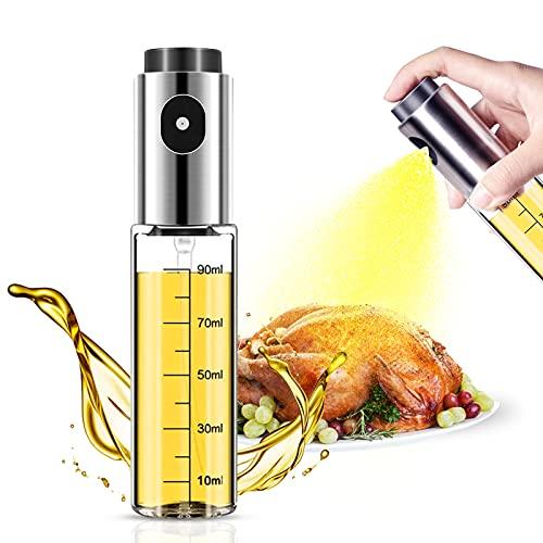 Lauon Oil Sprayer for Cooking, 100ml Olive Oil Dispenser for Air fryer, Kitchen Utensils Oil Glass Bottle for Salad, BBQ, Baking, Roasting, Grilling