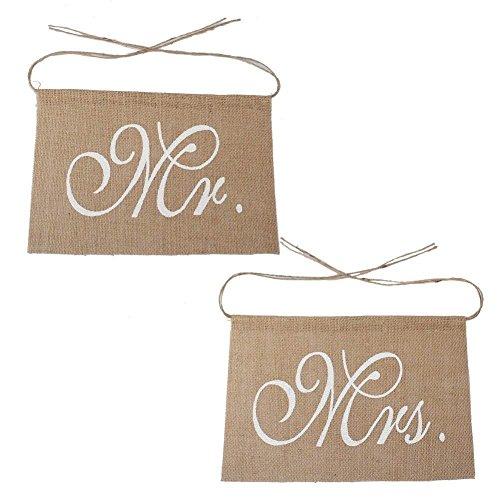 Gespout Mr Mrs Jute Décoration de Mariage Bannière de Chaise avec Décoration de Vacances