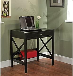 Simple Living Black X-design Writing Desk, Office Desk, Small Office Desk, Laptop Desk, Compact Desk, Black Compact Desk, Compact Writing Desk, Contemporary Desk, Black Compact Office Desk