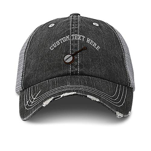 Custom Distressed Trucker Hat Banjo B Embroidery Cotton for Men & Women Strap Closure Black Gray Personalized Text Here