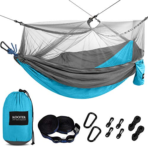 Kootek Camping Hammock with Mosquito Net Double & Single Portable Hammocks Parachute Lightweight Nylon with Tree Straps for Outdoor Adventures Backpacking Trips (Sky Blue & Grey, Small)
