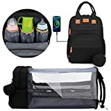 Diaper Bag with Changing Station Baby Backpack Portable Bassinet Sleeping Bed for New Born Essential Items. Foldable Baby Crib Mummy Bag with Changing Pad with Wet Bag Gift