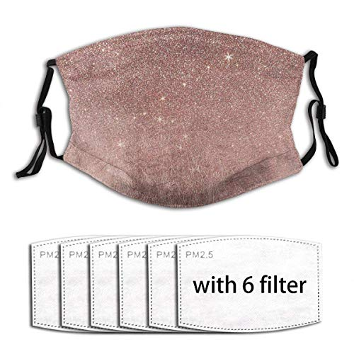 Girly Glam Pink Rose Gold Foil and Glitter Mesh Unisex Windproof and Dustproof Mouth Mask, Face Cover with Adjustable Elastic Strap 6 Filters