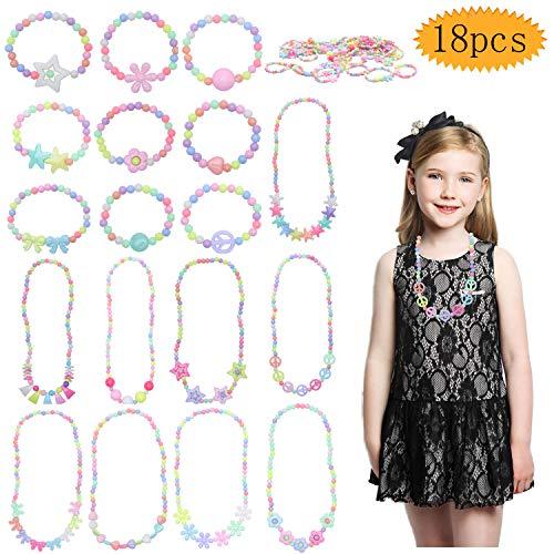 Bluesees - Collana per bambini, 18 pezzi, per vestire i gioielli da bambina, con scritta 'Little Princess', elasticizzati, per travestimenti, bomboniere, idea regalo per ragazze e bambini