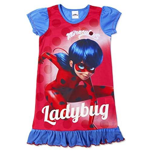 Camicie da notte per bambine a tema personaggi Disney, Re Leone, Aladdin, Cenerentola, Paw Patrol, La Sirenetta | Prodotto Ufficiale per bambini, abbigliamento da notte Coccinella miracolosa 4-5 Anni
