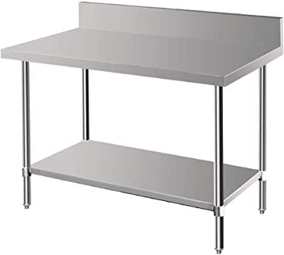 Vogue Premium Stainless Steel Table with Splashback