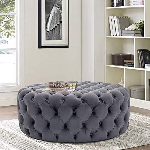 LXTIN Chesterfield Couchtisch geknöpft Fußhocker Samt gepolsterter Hocker rund für Wohnzimmer (grau, 100 x 100 x 40)