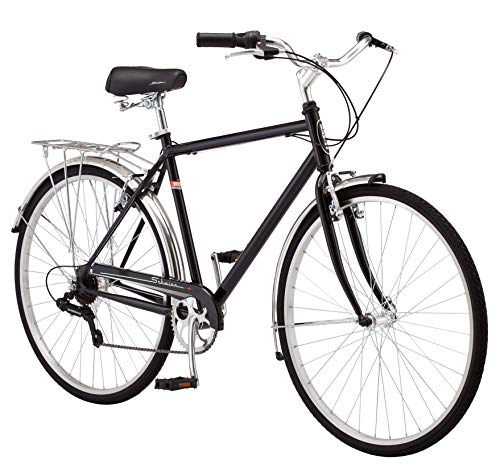 Schwinn Wayfarer Hybrid Bicycle, Featuring Retro-Styled 18-Inch/Medium Steel Step-Over Frame and 7-Speed Drivetrain with Front and Rear Fenders, Rear Rack, and 700C Wheels, Black