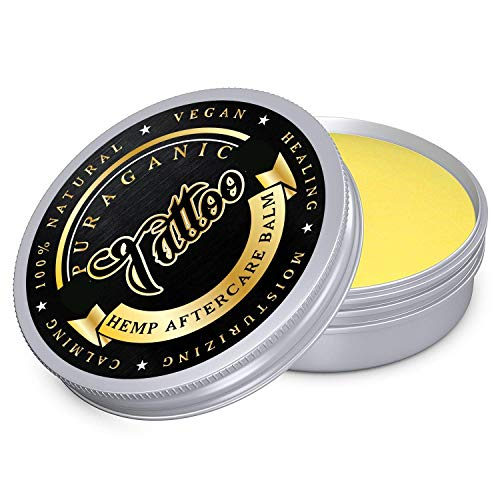 Puraganic Hemp Tattoo Aftercare Balm Crema Calmante Post Tatuaje de Cáñamo | 100% Natural sin Parabenos, ni Petrolatos - Antibacterial, Anti Cracking, Antiinflamatorio, Revitalizante. LATA GRANDE 60ml