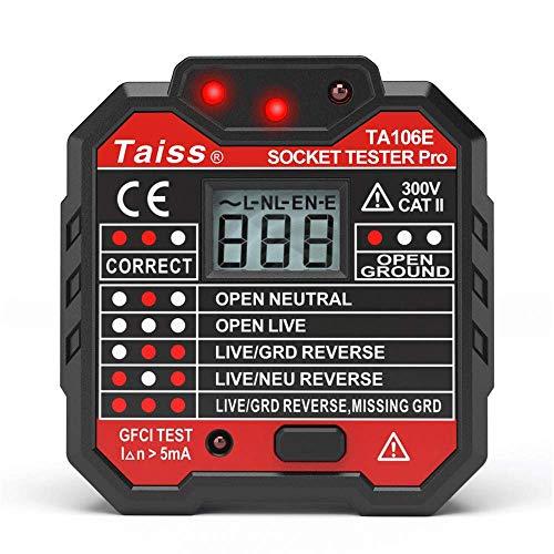 Taiss Steckdosen-Tester, mit Spannungsanzeige, GFCI Steckdosensteckdose, 48–250 V, automatischer elektrischer Schaltkreis, Polaritätsspannungsdetektor, UK-Stecker A106E2