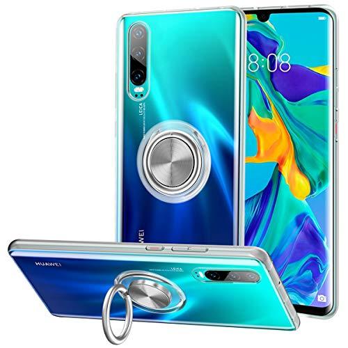 Huawei P30 Hülle, Silikon TPU Slim Cover Transparent Ultradünn Handyhülle mit 360 Grad Ring Stand Magnetische Autohalterung Schutzhülle Case für Huawei P30,Clear