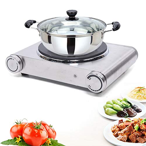 Fetcoi Placa de cocina eléctrica individual, de acero inoxidable, 1500 W