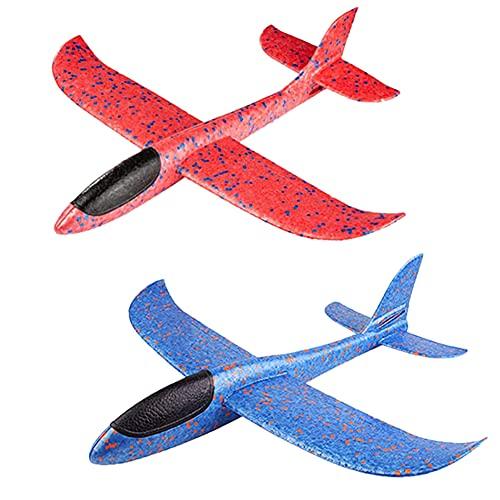 MAKFORT 2 Stück Kinder Flugzeug Spielzeug Outdoor Wurf Segelflugzeug Glider ca.38cm