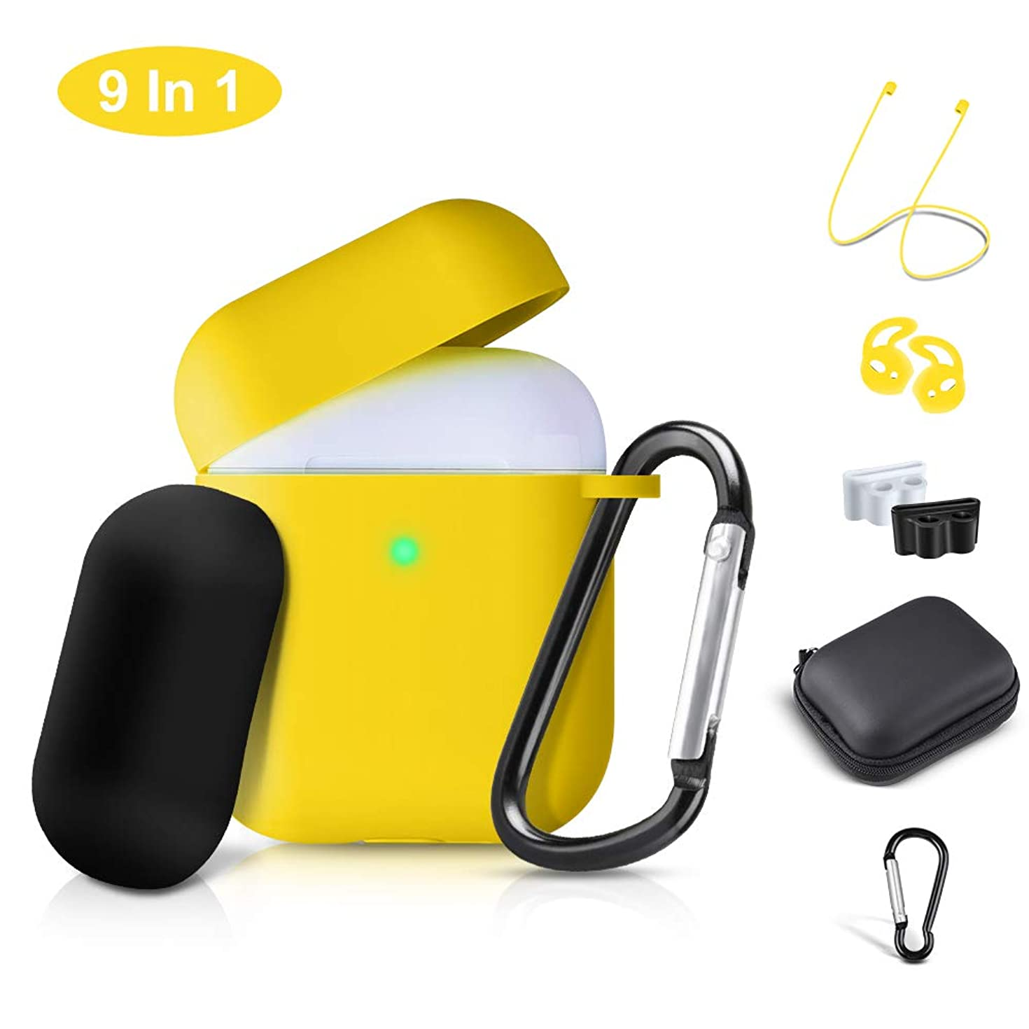 Airpods Case Cover, 2019 Airpod 2 Silicone Case Full Protective Cover Skin 9 in 1 Airpods Accessories for Apple Airpods 2 & 1 Wireless Charging Case, RTAKO Airpod Case Yellow (Front LED Visible)