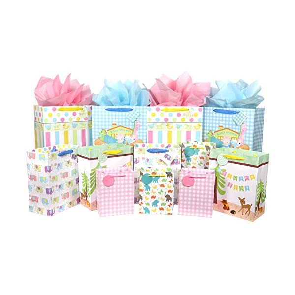 12 Pcs Baby Gift Bags, Large, Medium and Small Gift Bags Assortment for Baby Shower, Birthday, Parties, Baby Girl, and Baby Boy (Assorted Sizes)