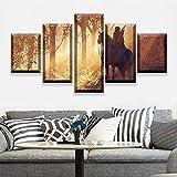 ganlanshu 5 Piezas póster de película Lienzo Arte de la Pared Imagen Abstracta del Juego decoración del Cartel,Pintura sin Marco,20x35cmx2, 20x45cmx2, 20x55cmx1