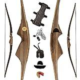 AF Archery Handmade Laminated Traditional American Longbow Hunting Recurve Bow (Black Walnut Riser, 55lbs)