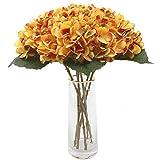 Decpro 6 hortensias artificiales, 16,6 cm, flores de seda hidrangea, para ramos de novia, hogar, oficina, hotel, decoración de fiestas, centros de mesa, arreglos florales (rojo atardecer)