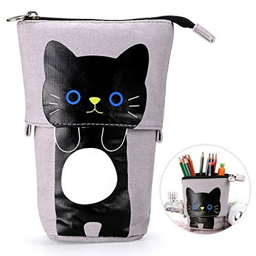 Telescopic Pencil Pouch Standing Pen Holder Cute Pencil Bags Stand Up Pen Case Cartoon Pencil/Pens Storage Box Canvas+PU Stationery Organizer Makeup Bag with Zipper Closure (Gray)