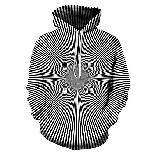 Sweatshirt met capuchon, digitale print, 3D-paar, gestreept, in wit en zwart, overhemd met capuchon, lange mouwen, jas met capuchon