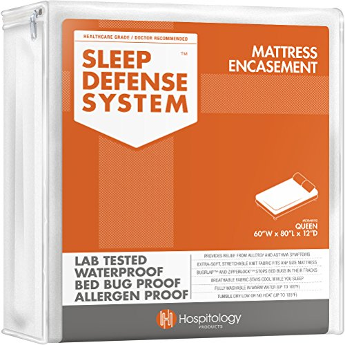 HOSPITOLOGY PRODUCTS Sleep Defense System - Zippered Mattress Encasement - Queen - Hypoallergenic - Waterproof - Bed Bug & Dust Mite Proof - Stretchable - Standard 12' Depth - 60' W x 80' L