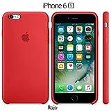 Funda Silicona para iPhone 6 y 6s Silicone Case, Textura Suave, Forro Microfibra (Rojo)