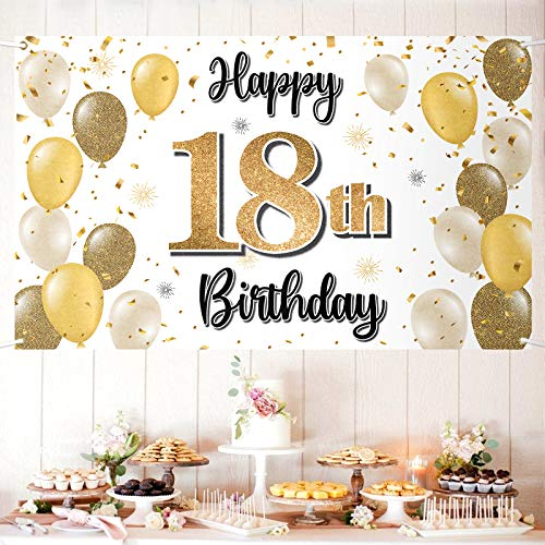 LASKYER Happy 18th Birthday Large Banner - Cheers to Eighteen Years Old Birthday Home Wall Photoprop Backdrop,18th Birthday Party Decorations.