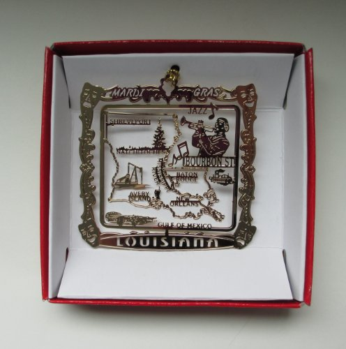 Nations Treasures Louisiana Christmas Ornament State Souvenir Gift New Orleans Bourbon Street Jazz Baton Rouge + More