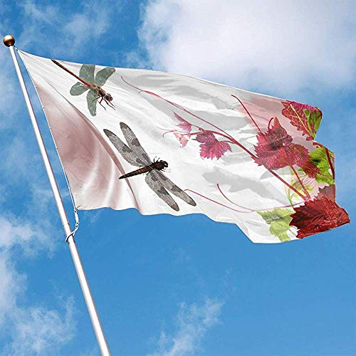 wallxxj Fahne Garten Flagge Frühling Libelle Polyester Indoor Garten Flagge Flagge Banner Outdoor Dekorative Flagge 150X90 cm