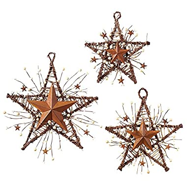 Rustic Country Primitive Berry Hanging Stars Wall Art Decor Set - 3pc.