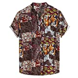CAOQAO Camisa Hawaiana Hombre Verano 2019 Manga Corta Cuello Suelto Suelto con impresión Colorida Transpirable