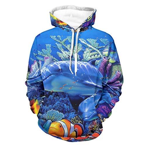 Fantasy Mar Animales Coral Delphin Fish Print Sudadera con capucha Tribal Manga Larga Sudadera Sudadera con...